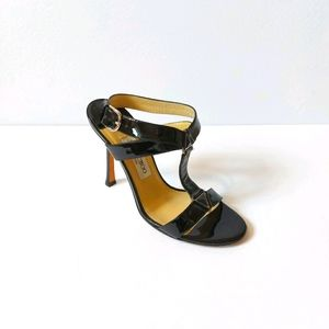 Authentic Jimmy Choo Black Patent Sandal Heel